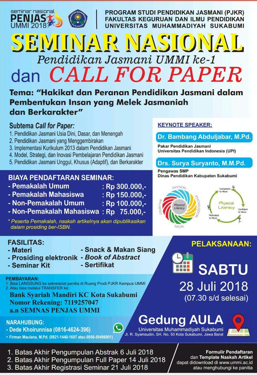 SEMINAR NASIONAL PENJAS UMMI 2018 DAN CALL FOR PAPER
