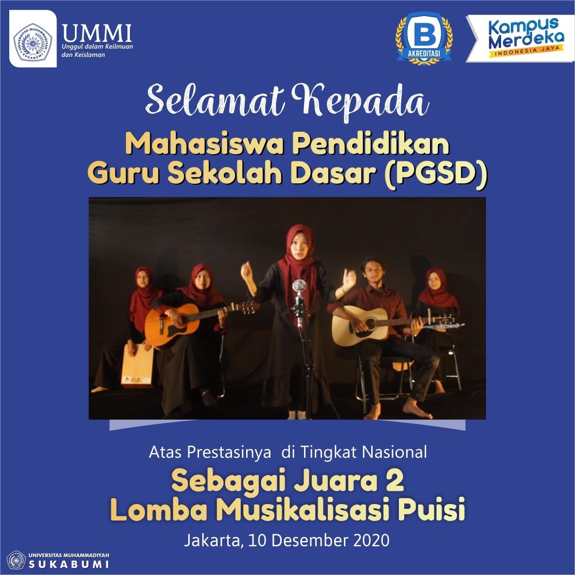 Mahasiswa PGSD UMMI Raih Juara 2 Lomba Musikalisasi Puisi Tingkat Nasional